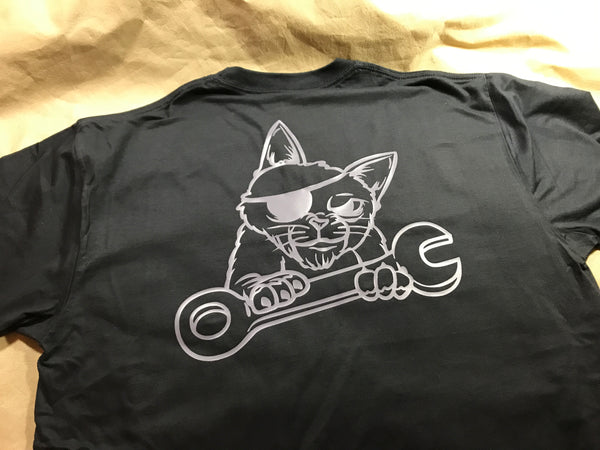 "JDM-STYLE X BLACK CAT HONDA WORKS -   ""Scruffs the Mechanic ""  T-Shirt"