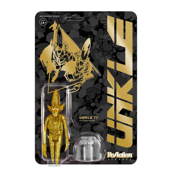 REACTION SUPER7 - UNKLE77 Gold Glitter Pointman  ReAction Figure