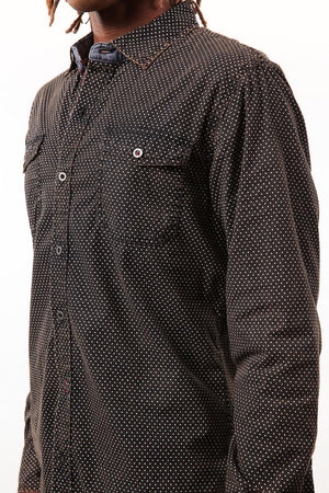 Black Pin Dot Long Sleeve Woven Shirt