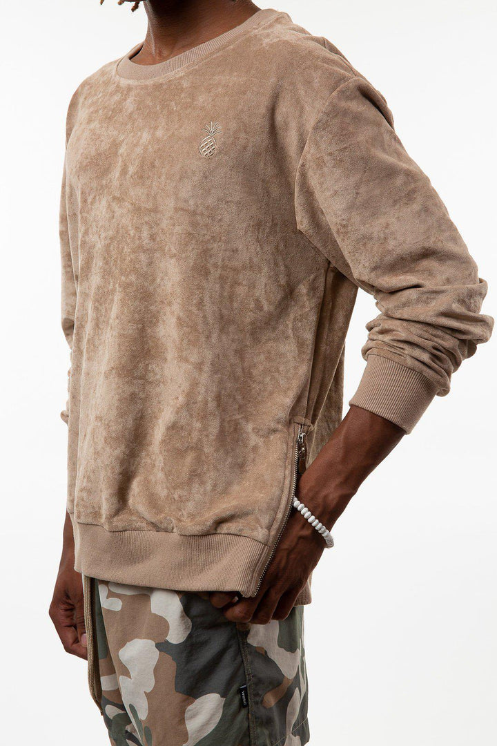 Suede Side-zip Sweatshirt