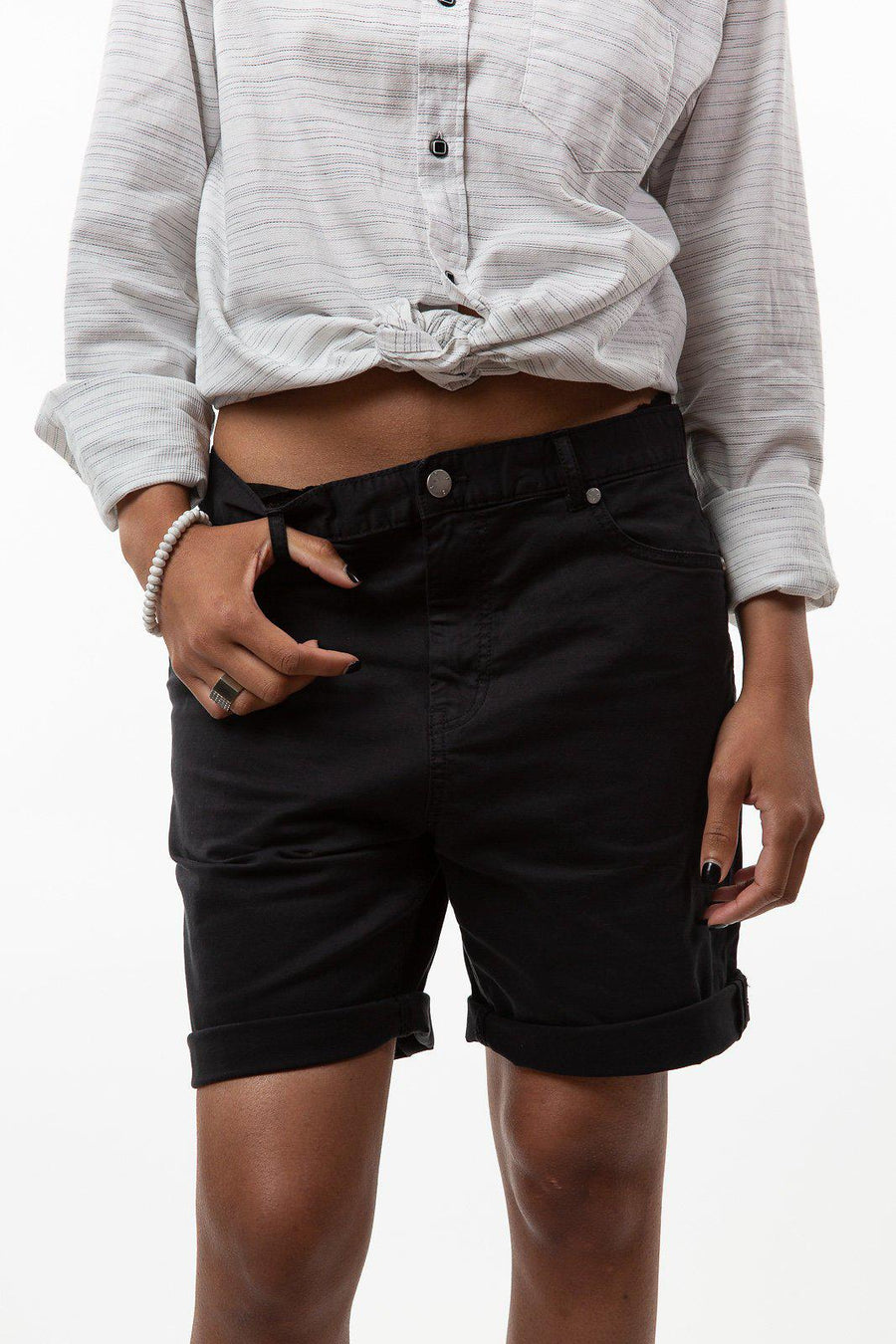 Conway Black Denim Shorts
