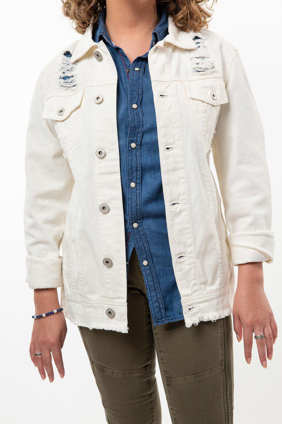 White Shredded Denim Jacket