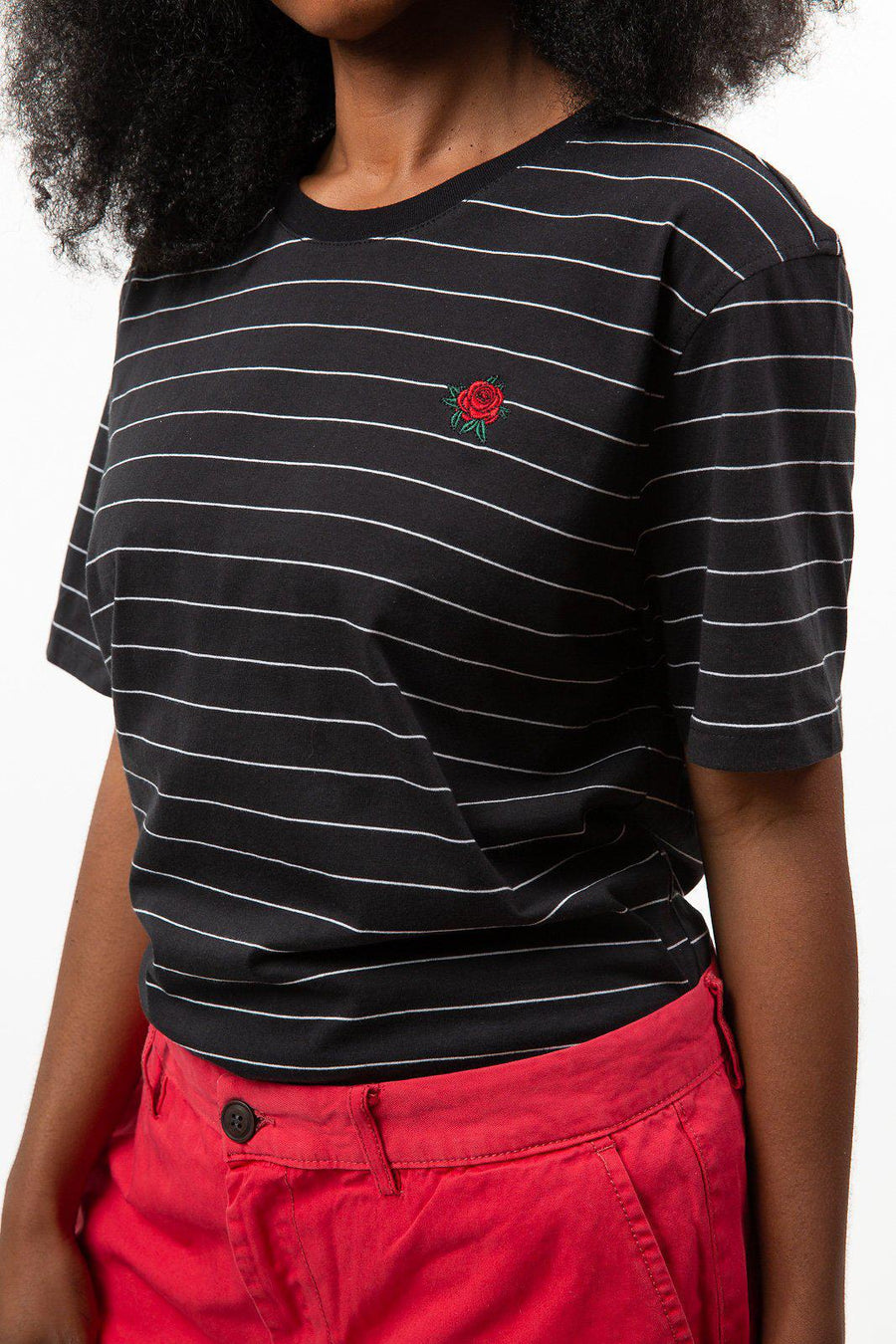 Black Rose Embroidered Stripe Tee