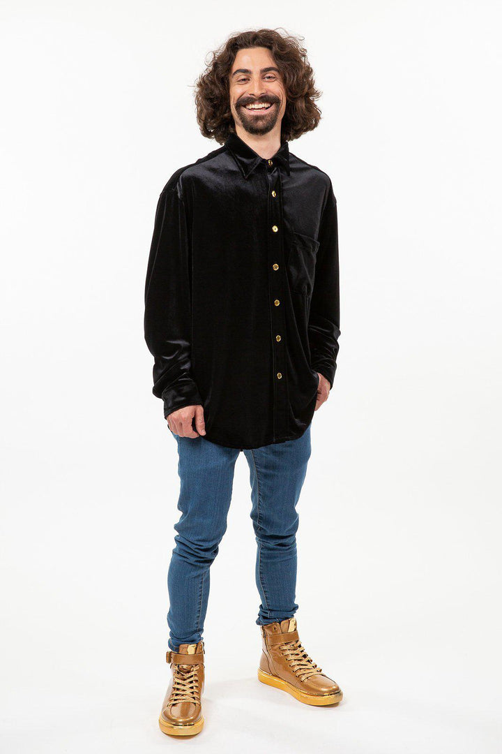 Black Reign Velvet Buttondown