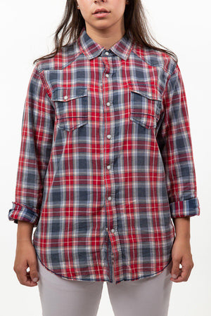 Red Plaid Long Sleeve Woven Shirt