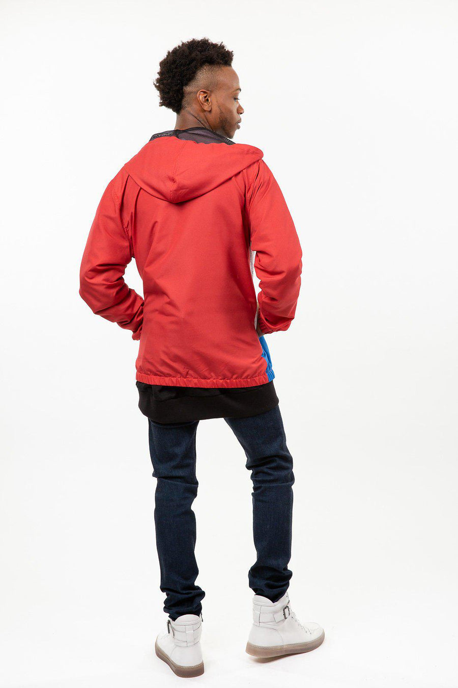 Red, White & Blue Color Block Windbreaker