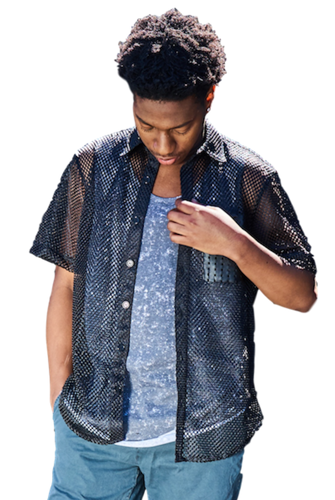 Black Mesh Buttondown-Shirts-Stuzo Clothing-RIGit