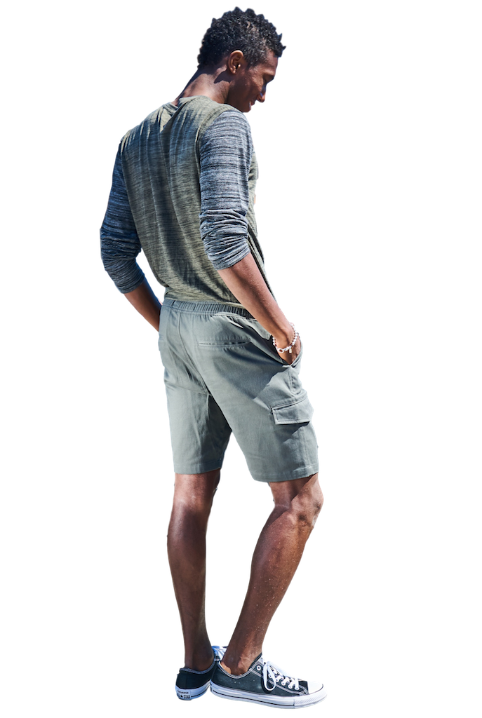 Charcoal Twill Cargo Jogger Shorts-Shorts-Brooklyn Cloth-RIGit