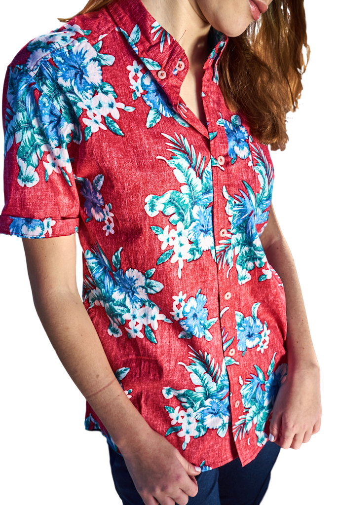 Hawaiian Floral Reverse Print Woven Short Sleeve Shirt-Shirts-Brooklyn Cloth-RIGit