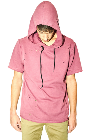 Mauve Colored Distressed Short Sleeve French Terry Hoodie-Tees & Tanks-Brooklyn Cloth-RIGit