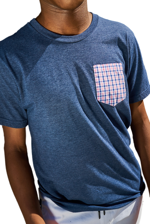 Navy T-Shirt with Pink Gingham Pocket-Tees & Tanks-Kirrin Finch-RIGit