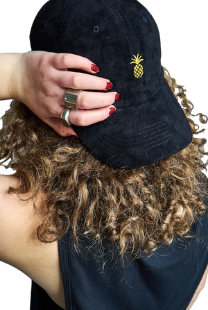 Pineapple Suede Dad Hat-Accessories-Qilo-OS-Black-RIGit