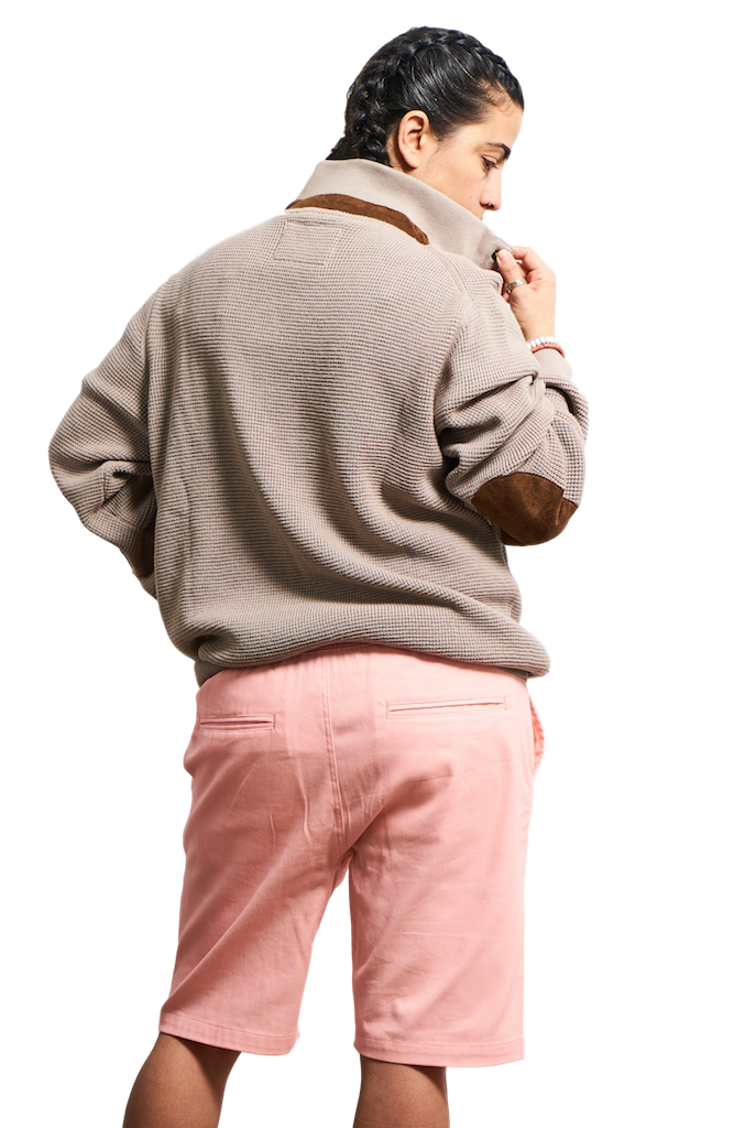Pink Twill Jogger Shorts-Shorts-Brooklyn Cloth-RIGit