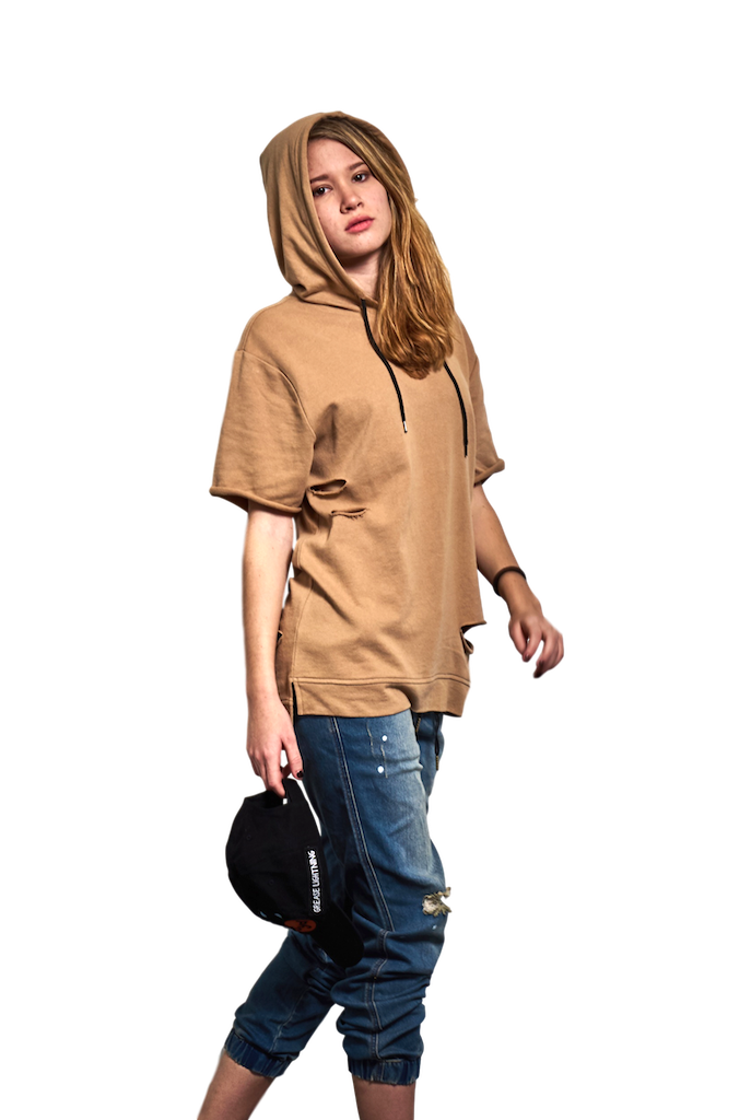 Taupe Colored Distressed Short Sleeve French Terry Hoodie-Tees & Tanks-Brooklyn Cloth-RIGit