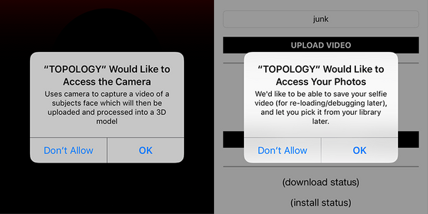 Please allow any permissions that are requested by the TestFlight or by Topology apps