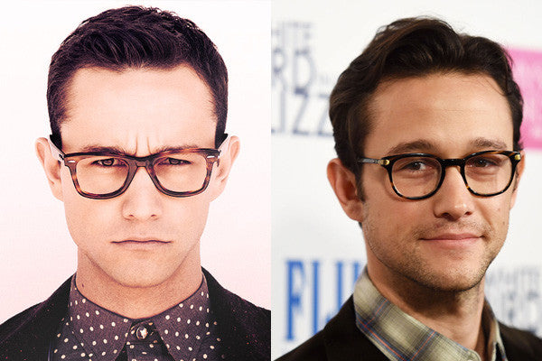 Left: Too much glasses, not enough face. The lens is too wide and his eyes appear cramped in the corner.  Right: Much better. The round lens shape cuts off the excess material around the outer corners and balances his pointed chin.