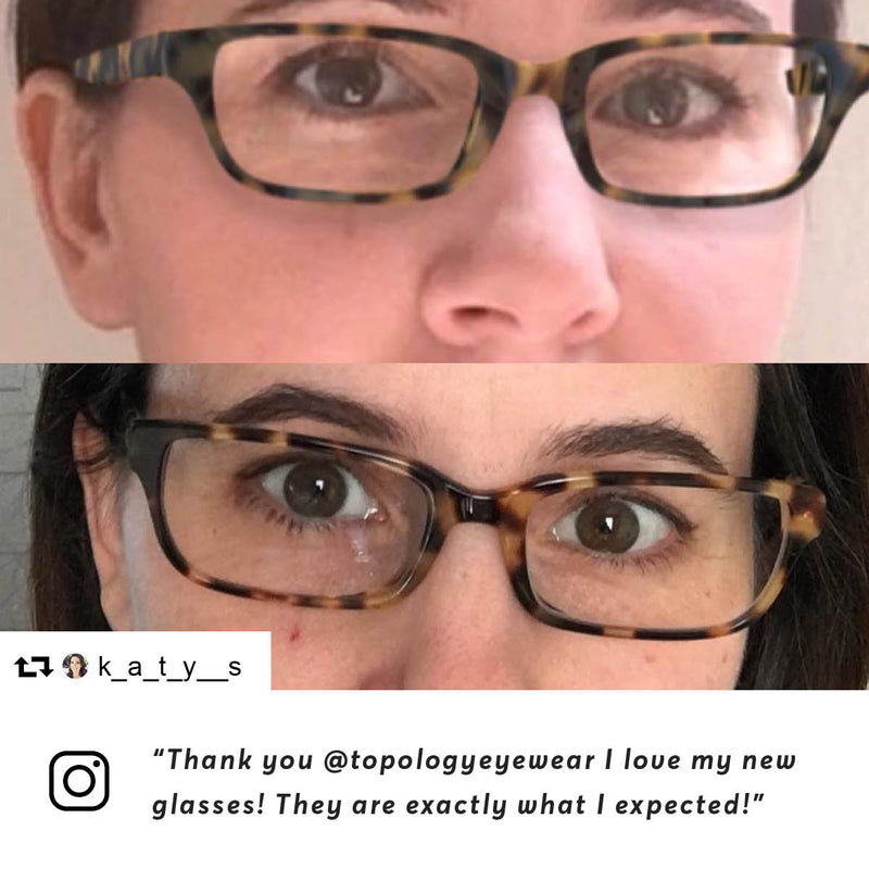 "Instagram user @k_a_t_y__s says: ""Just for fun! The top is me virtually trying my glasses on in the app. The bottom is me with my new custom fit topology eyewear! Thank you @topologyeyewear I love my new glasses! They are exactly what I expected!"""