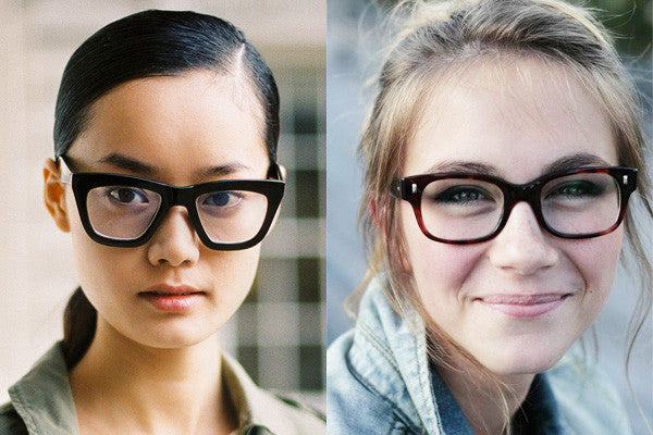 Left: See the gap between her nose and the frame? With nothing to hold it up in front, it will constantly slide out of place.  Right: The smaller frame rests on the bridge of her nose, and the frame temples are perfectly parallel to the side of her face.