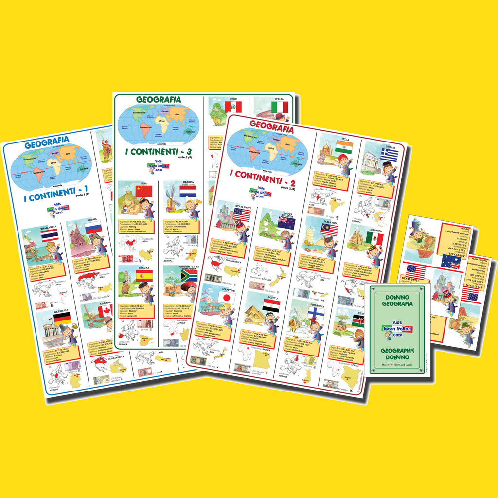 Three Geography Posters plus FREE Domino Game Bundle