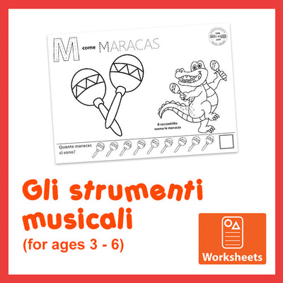 Animals & Instruments - Worksheets for 3 to 6-Year-Olds