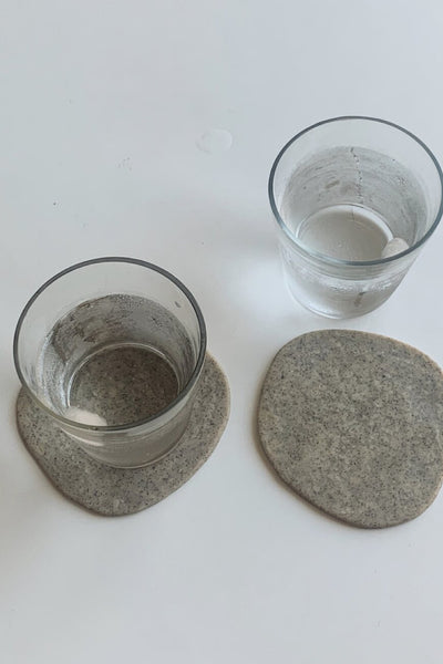 Clay Coaster Set of 2 - Grey Granite