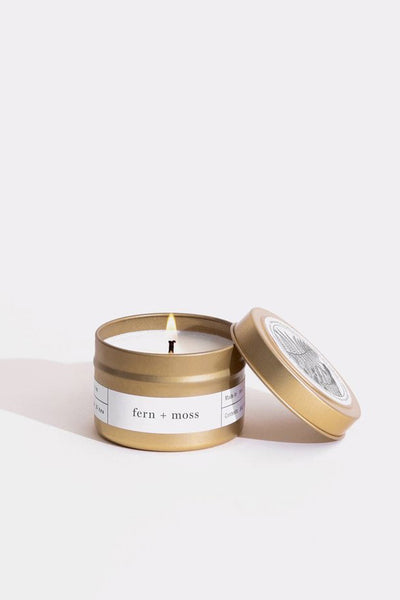 Gold Travel Candle - Fern + Moss