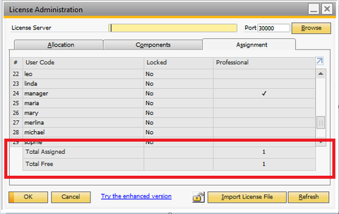 B1 License Administration screen