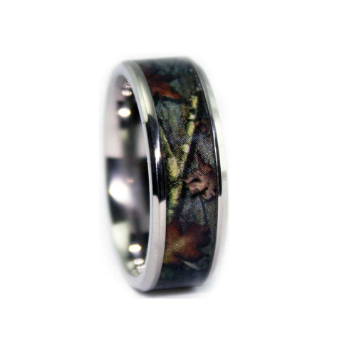 new camo wedding ring beveled titanium camouflage ring - Camouflage Wedding Rings