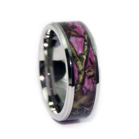 Pink Camo Wedding Ring - Beveled Titanium Camouflage Ring