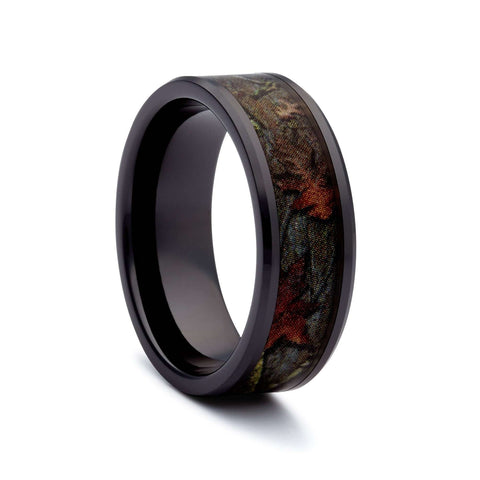 Black Camo Wedding Ring - Black Titanium Camouflage Ring