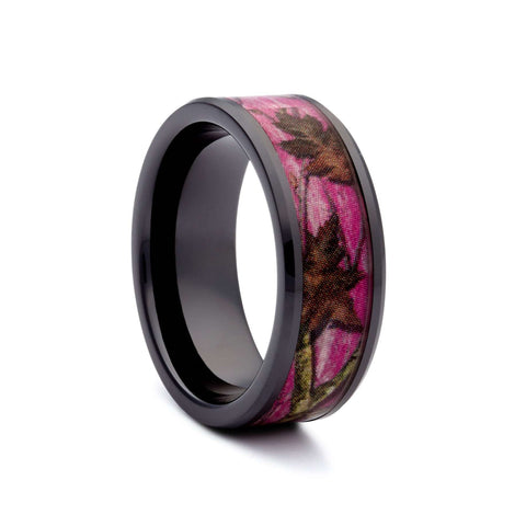 New Black Pink Camo Wedding Ring   Ceramic Camouflage Ring