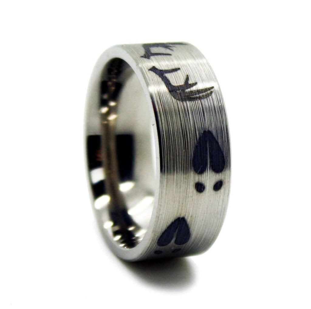 bands rings titanium new mens of ring wedding deer antler
