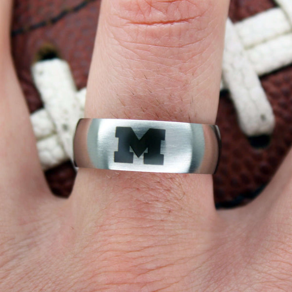 Michigan Wolverines College Wedding Band - University of Michigan Jewelry