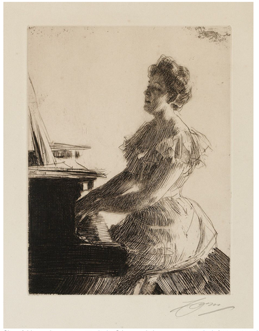 'At The Piano' by Anders Zorn - 1900 - THE SPACE gallery