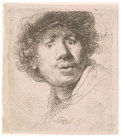 'Self-Portrait in a Cap, Open Mouthed' by Rembrandt van Rijn - 1630 - THE SPACE gallery