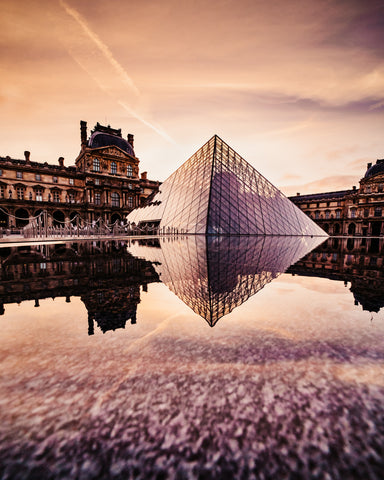 Morning Golden Hour at the Louvre Museum in Paris.