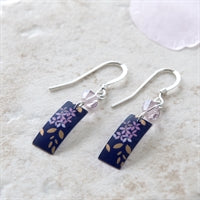 kyoto garden blue purple rectanguar drop earrings on sterling silver wire with a pink Swarovski crystal made from treasured tins