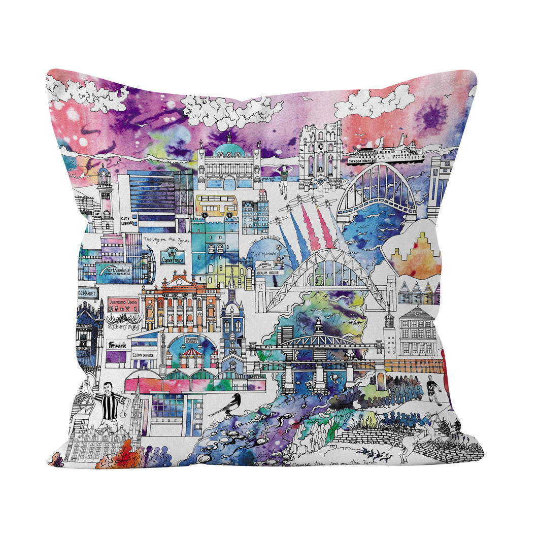 Newcastle Skyline in Colour Soft Cushion