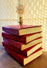 From Loft to Loved - vintage style red leather stacked books table lamp - unique and unusual lighting - gifts for him and her - home and gift - edison bulb - independent shop in Sedgefield County Durham