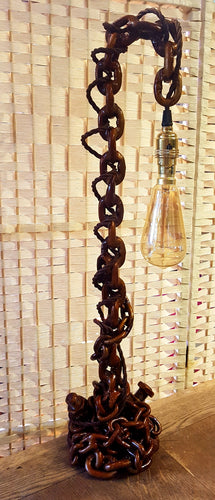 From Loft to Loved - upcycled bronze chain table lamp - industrial and steampunk style - unusual and unique gift for him - home and gift - independent shop in Sedgefield County Durham