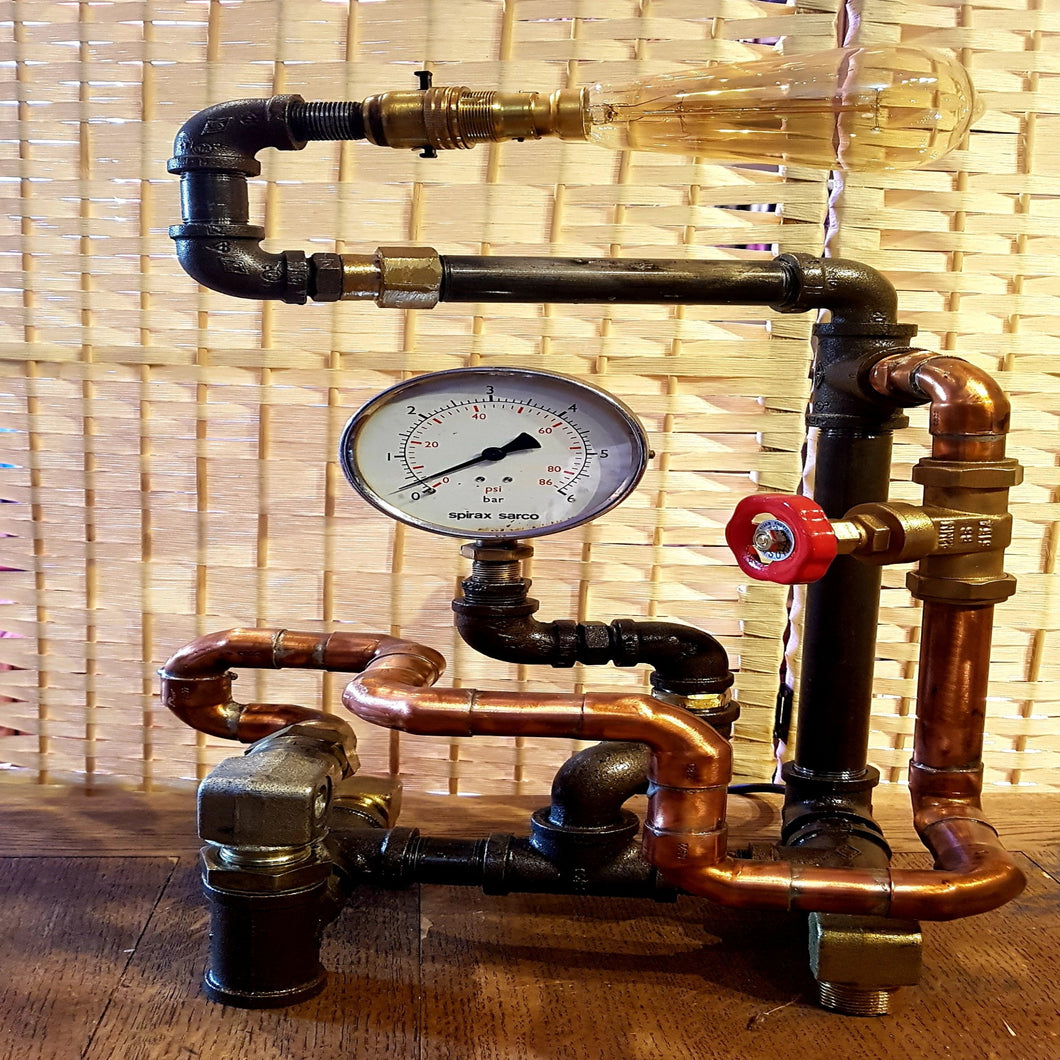 From Loft to Loved - industrial pipe and guage table lamp with edison bulb - steampunk and vintage style - unusual and unique gift - home and gift - independent shop in Sedgefield County Durham