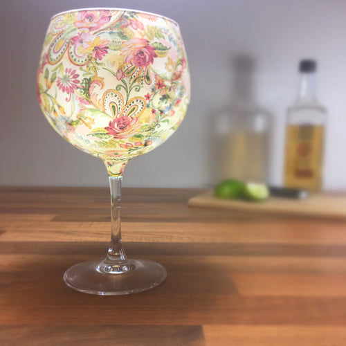 From Loft to Loved - gift for her - gift for women - bright floral paisley stemmed balloon gin glass or cocktail glass - unique gin lover's gift - handmade gift - decorative gin glass - patterned gin glass - shop in Sedgefield County Durham