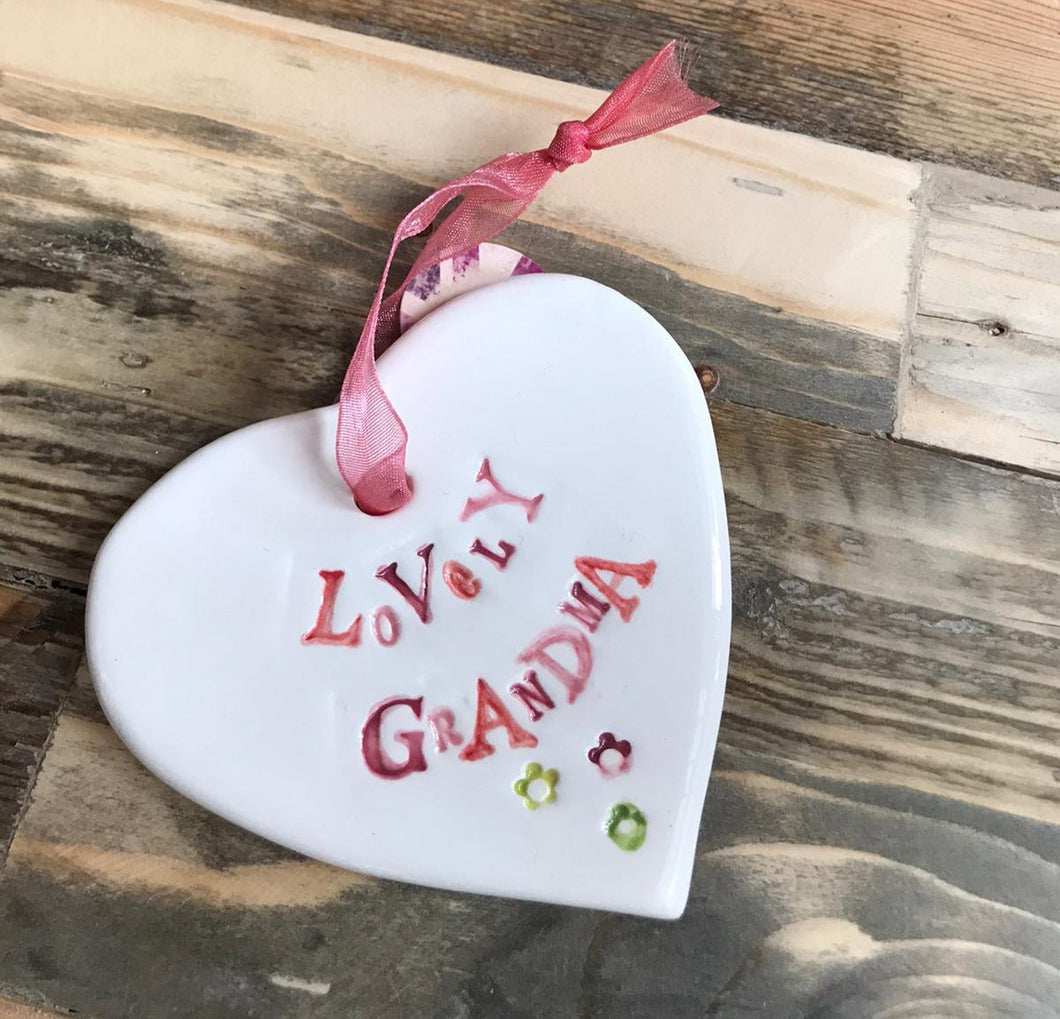 Ceramic Heart - Lovely Grandma