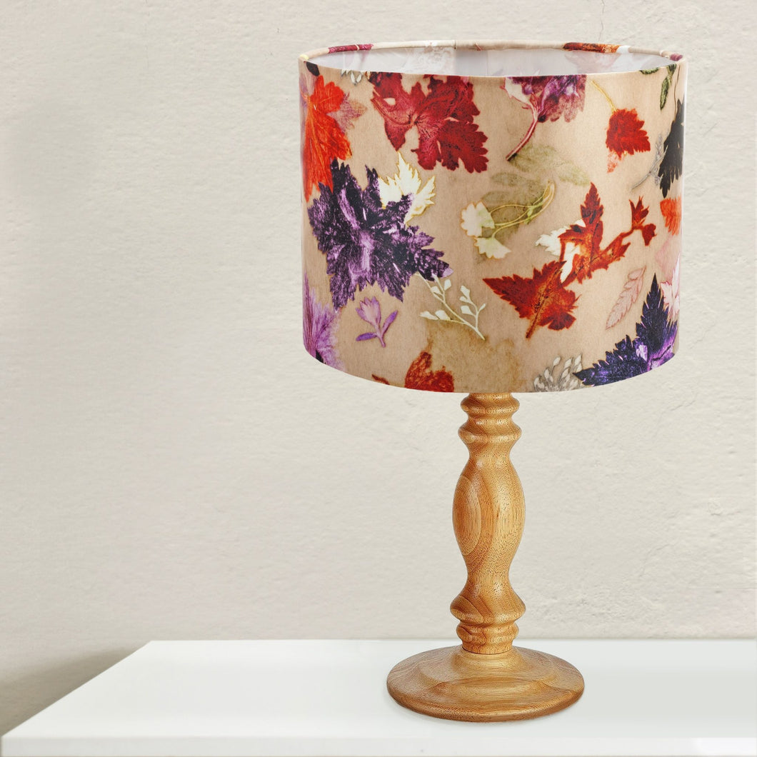 From Loft to loved - Gillian Arnold - drum shade for ceiling or table lamp - Sedgefield, County Durham - Autumn Flurry - leaves - orange and brown