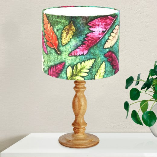 From Loft to loved - Gillian Arnold - drum shade for ceiling or table lamp - Sedgefield, County Durham - Green Fern - green and pink leaves