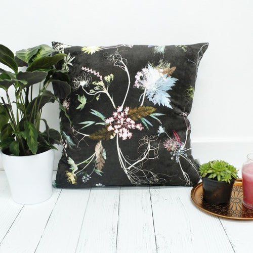 From Loft to loved - Gillian Arnold - 45cm velvet cushion - duck feather inner - Sedgefield, County Durham - Edwardian blooms - dark chocolate and white floral print