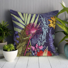 From Loft to loved - Gillian Arnold - 45cm velvet cushion - duck feather inner - Sedgefield, County Durham - Midnight jungle - blue and pink tropical print