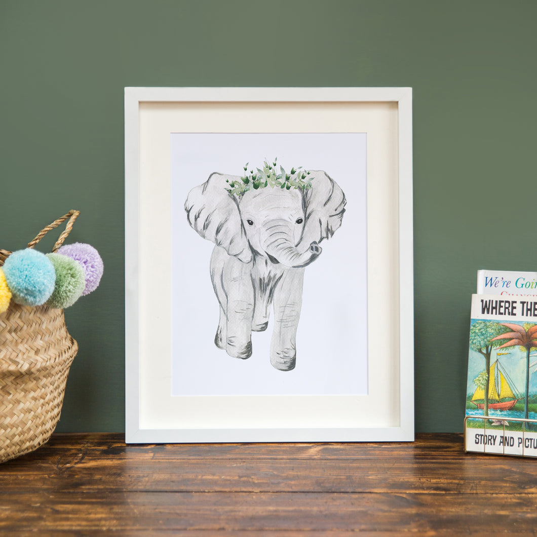 Elephant with Crown A4 Print