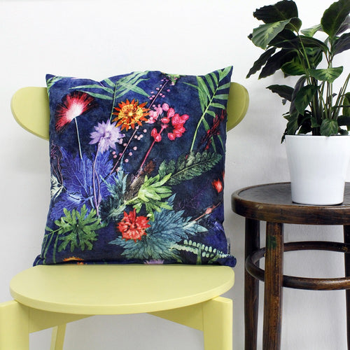 From Loft to loved - Gillian Arnold - 45cm velvet cushion - duck feather inner - Sedgefield, County Durham - Indigo tropical - green and blue tropical print