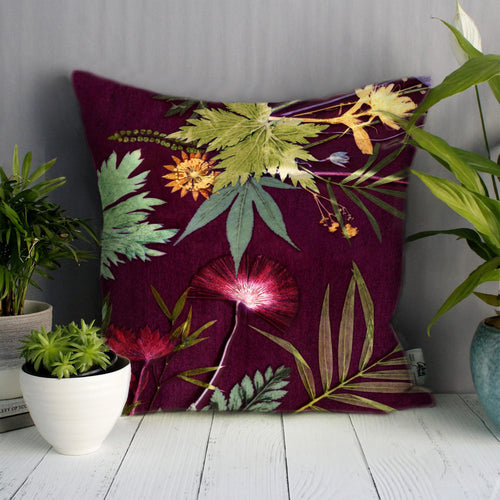 From Loft to loved - Gillian Arnold - 45cm velvet cushion - duck feather inner - Sedgefield, County Durham - Tropical wine - red wine and green botanical print